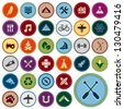 Set of scout merit badges for outdoor and academic activities - stock photo