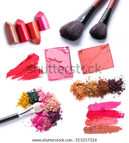 set of Scratch lipstick, blush on, powder and make up cosmetics collection