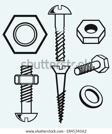 Set of screws. Isolated on blue background. Raster version - stock photo