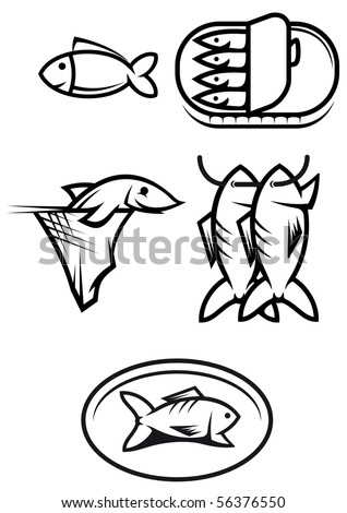 Set of seafood and fish symbols - also as emblem or logo template. Vector version also available in gallery - stock photo