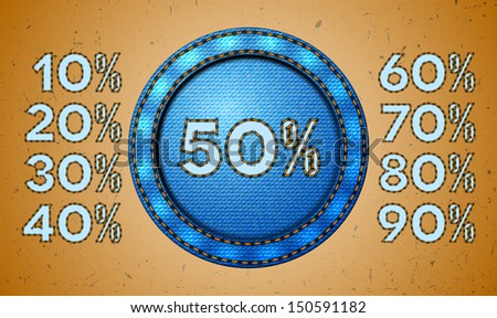 Set of seam discount percents for jeans label. Vector version is available. - stock photo