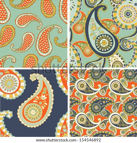 set of Seamless patterns based on traditional Asian elements Paisley - stock photo