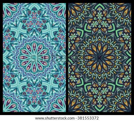 set of seamless patterns: detailed persian carpet, raster version - stock photo