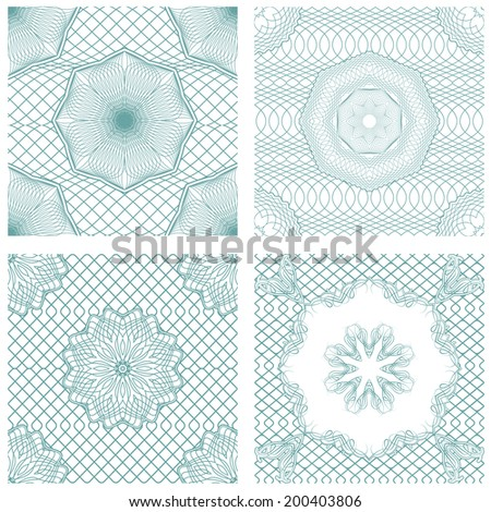 Set of seamless patterns - Guilloche ornamental Elements for Certificate, Money, Diploma, Voucher, decorative round frames.  Vintage backgrounds. Ready to use as swatch - stock photo