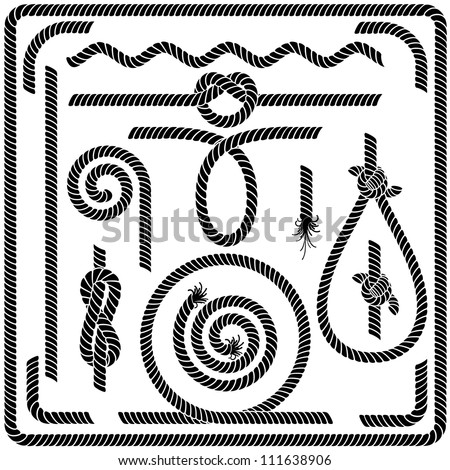 Set of Seamless Rope Design Elements - stock photo