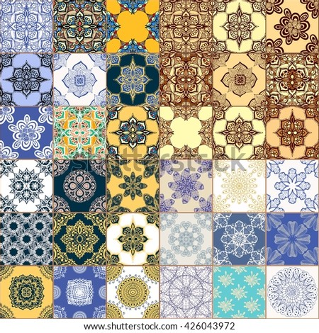 Set of Seamless Vintage Background Collection - Victorian Tile