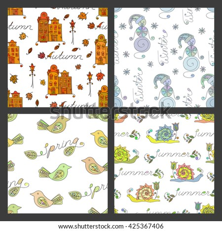 Set of seasonal coloring seamless pattern with season name inscription. Autumn, summer, spring, winter design element for background, paper packaging, wrapping paper. Raster copy of vector file.