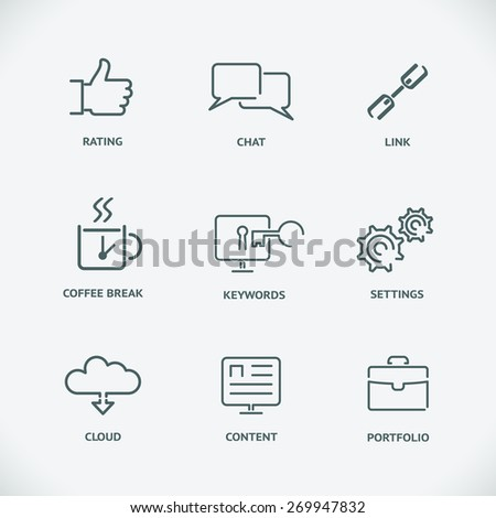 Set of seo service symbols, website search engine optimization. Modern line SEO icons. Content and cloud, link and keyword, chat and rating - stock photo