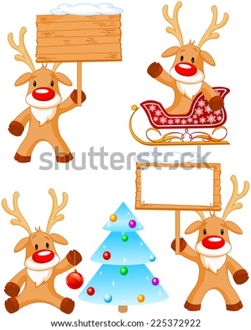 Set of separately grouped little Rudolphs.  - stock photo