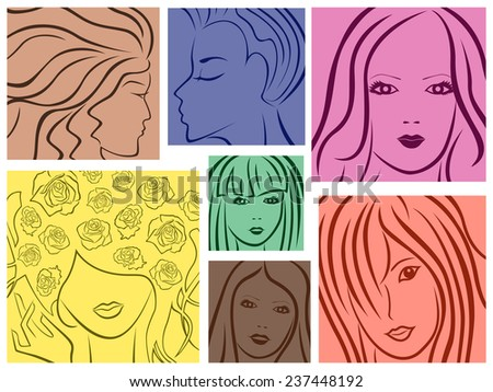 Set of seven abstract colored sketching portraits of young women - stock photo