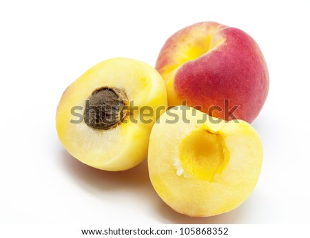 Set of several Apricot on white background