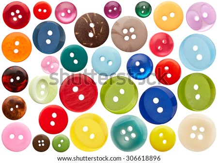 Set of sewing buttons isolated on white background - stock photo