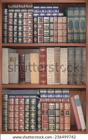 Set of shelves for books set in a surrounding frame or cabinet. The possibility of multiply for wallpaper or background.  - stock photo
