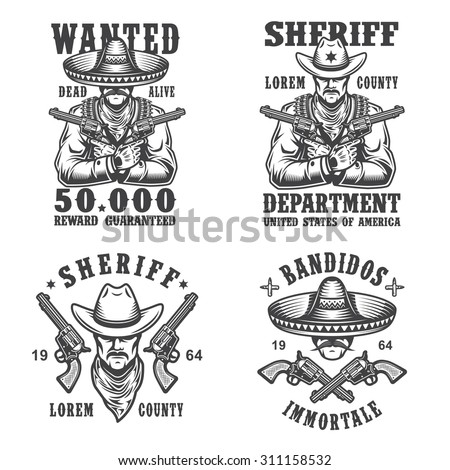 Set of sheriff and bandit emblems, labels, badges, logos and mascots. Monochrome style. - stock photo