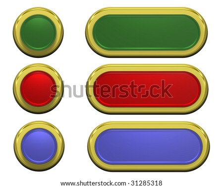 Set of shiny buttons isolated on white. Computer generated 3D photo rendering.