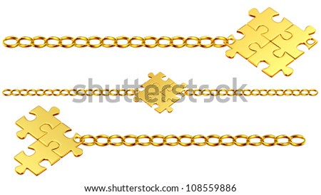 Set of shiny gold chains with the collected puzzles - stock photo