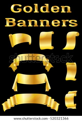Set of Shiny Golden Banners, Ribbons and Scrolls for Your Holiday Design on Black Background