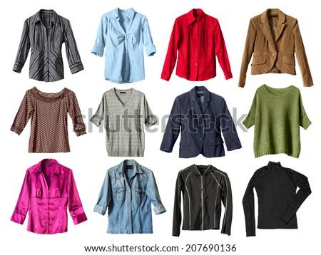 Set of shirts and jackets on white background - stock photo