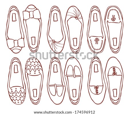 set of shoes doodle - stock photo