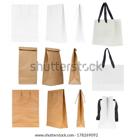 Set of shopping bags in different design isolated on a white background - stock photo