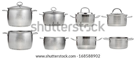 set of side view of stainless steel saucepans isolated on white background - stock photo