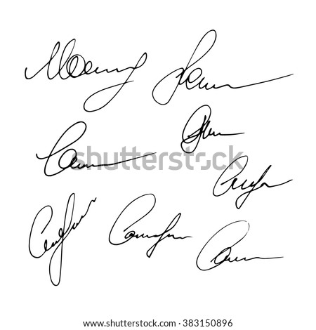 Set of signatures isolated on a white background. Hand written signatures. Business autograph illustration - stock photo