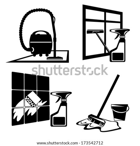 set of silhouette black images of cleaning, washing and maintenance of cleanliness - stock photo
