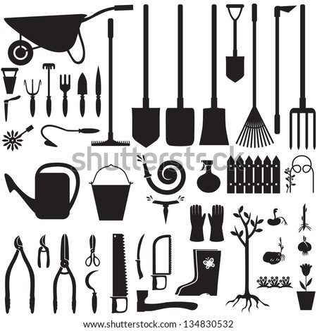 Set of silhouette images of garden equipment - stock photo