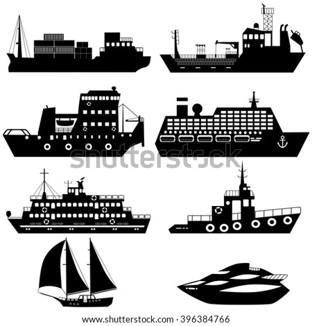 Set of silhouettes of industrial cargo and passenger ships and boats. Raster illustration - stock photo