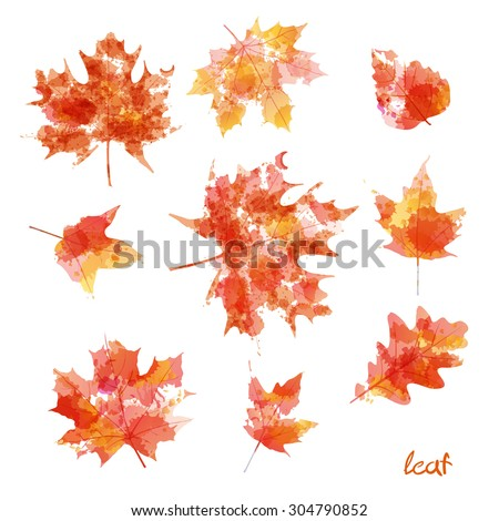 set of silhouettes of maple leaves in watercolor, Rasterized Copy - stock photo