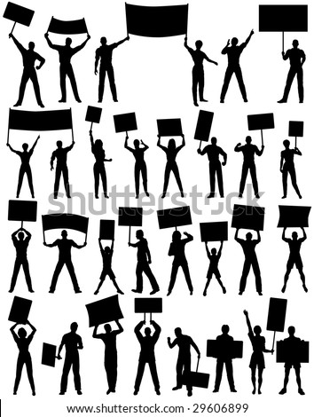 Set of silhouettes of protesters and banners. Editable vector file (.eps) also available. - stock photo