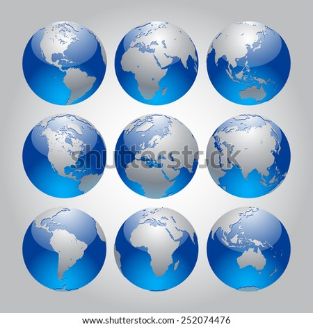 Set of silver and blue Earth in different views of the continents. Modern Globe icon set. Contain the Clipping Path - stock photo