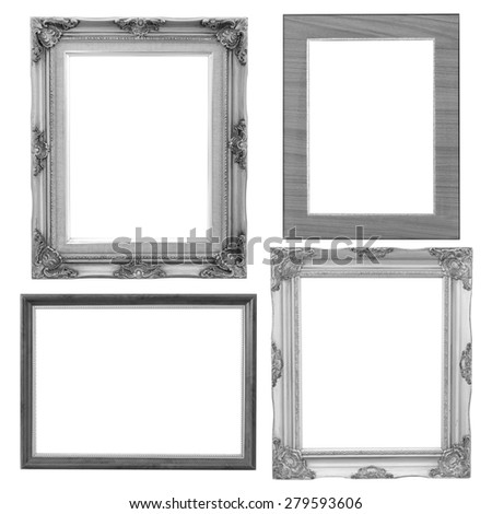 Set of silver frame and wood vintage isolated on white background. - stock photo