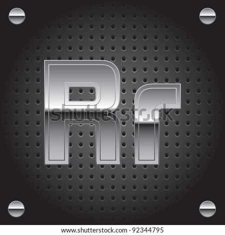 Set of silver metal font on metallic perforated background - letter R - raster version