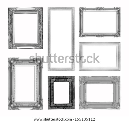Set of silver picture frame isolated on white backgrounds - stock photo