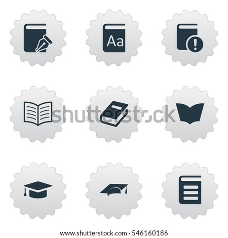 Set Of 9 Simple Books Icons. Can Be Found Such Elements As Academic Cap, Encyclopedia, Reading And Other.