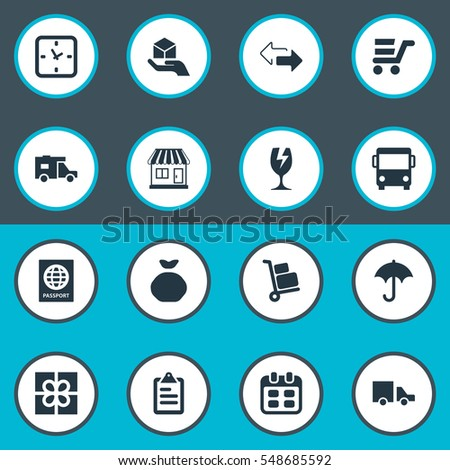 Set Of 16 Simple Carting Icons. Can Be Found Such Elements As Van, Luggage Bearer, Caravan And Other.