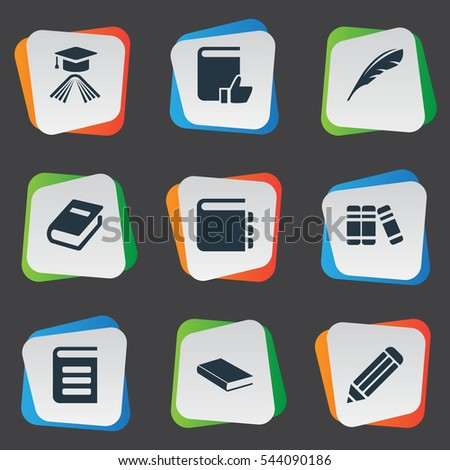 Set Of 9 Simple Education Icons. Can Be Found Such Elements As Plume, Recommended Reading, Notebook And Other.