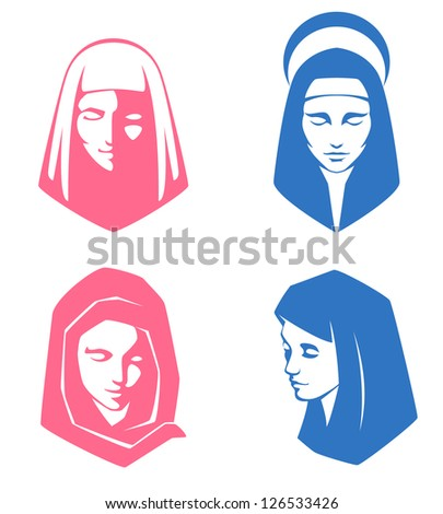 set of simple illustrations of spiritual women - stock photo