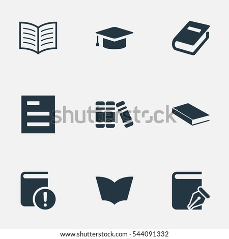 Set Of 9 Simple Knowledge Icons. Can Be Found Such Elements As Tasklist, Book Page, Bookshelf And Other.