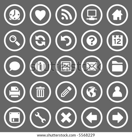 Set of 25 simple round web icons on gray background - stock photo