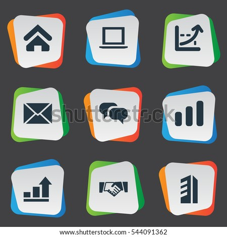 Set Of 9 Simple Teamwork Icons. Can Be Found Such Elements As Discussion, Computer, Greeting And Other.