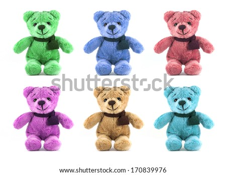 set of six color TEDDY BEAR with scarf on white background - stock photo