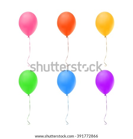 Set of six colorful balloons isolated on white background. - stock photo
