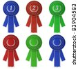 Set of six differently colored award ribbons isolated over white background - stock photo