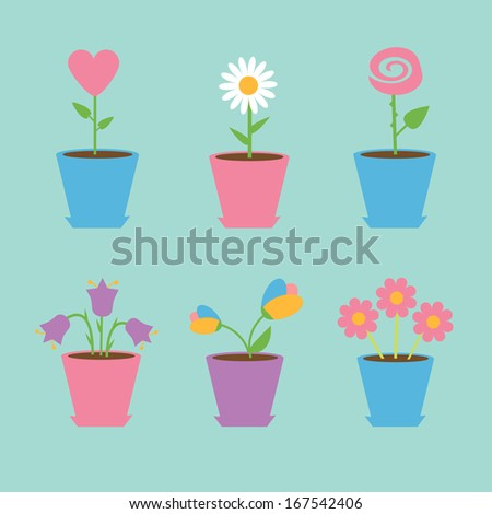 Set of six flowers in pots. Blue background. Card. Rasterized copy.