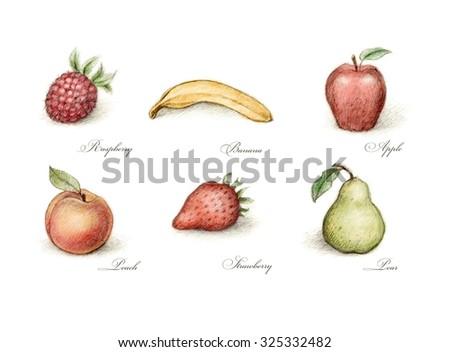 Set of six fruits - stock photo