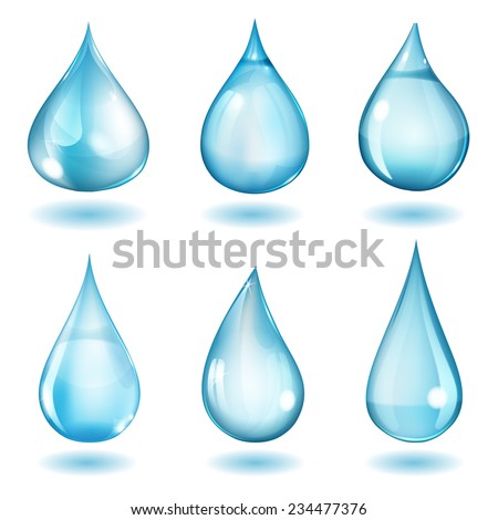 Set of six opaque drops of different forms in blue colors - stock photo