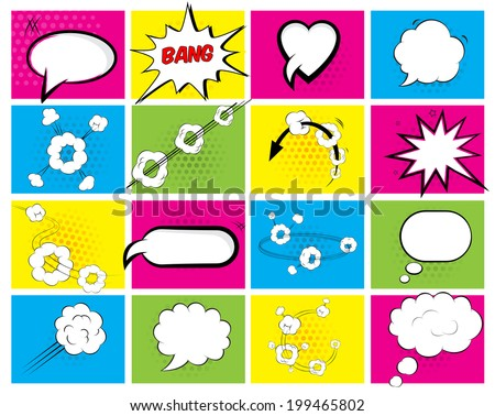 Set of sixteen different brightly colored speech bubbles with an oval  heart  explosion  cloud and motion depicting conversation and thought for web or print - stock photo