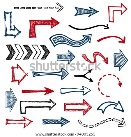 Set of sketched arrow shapes on notepad background